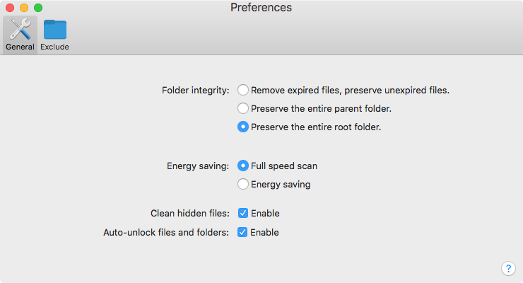 AutoCleanFolder preferences